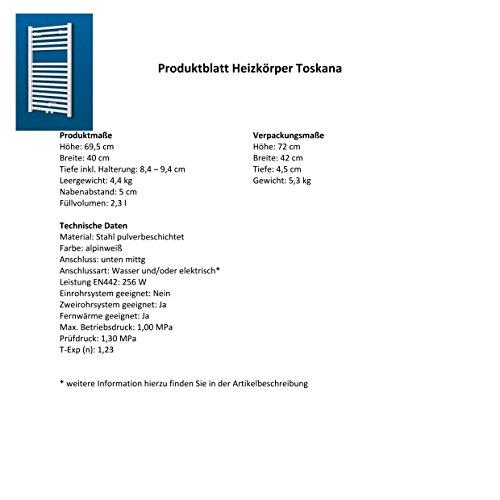 Badheizkörper Mittelanschluss Toskana 70×40 cm Design-Heizkörper Bad weiß vom Renovierungsprofi, 1 Stück, 4056397001737 - 6