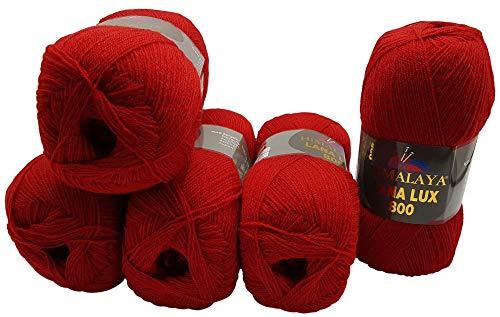 Lana Lux 5 x 100 Gramm Himalaya Strickwolle, 50% Wolle - Anteil, 500 Gramm Strickgarn (rot 74612)