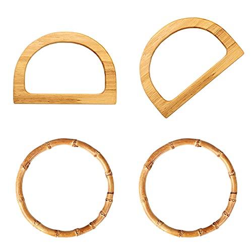 Dzsomt 4 Pièces Anses de Sac en Bois Poignée de Remplacement de Sac Poignées Anse pour sac à Main Poignée de Sac en Bambou et Bois pour Bricolage Sac à Main Accessoires