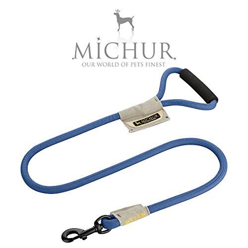 Michur Carola Vintage Style Line, hondenriem gemaakt van nylon, hondenriem gemaakt van nylon, aansluiting op de halsband en platte Wendy, verkrijgbaar in verschillende maten en kleuren, 120 x 0,7 cm, Blauw