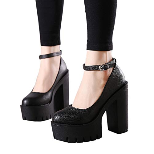 ACWTCHY New Casual schoenen met hoge hakken Dikke hakken Platform Pumps Zwart Wit 7 zwarte schoenen