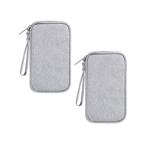 Walout 2 Pcs Cable Organiser Bags, Portable Travel Storage Organisers Bags for Power Bank, Memory Card, Charging Cables, Charger and Cell Phone