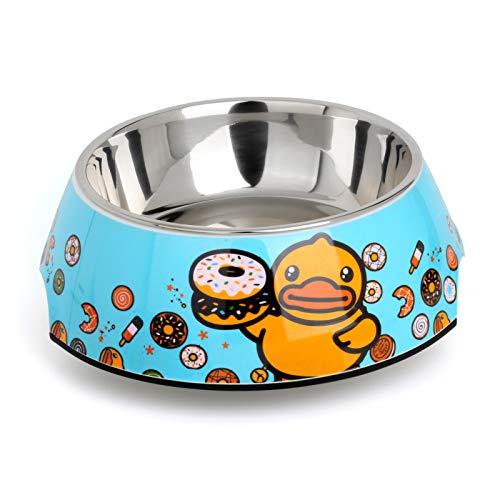 DAFENP Futternapf Fressnapf Hunde Katzen Hundenapf Edelstahlnapf Melamin-Napf Große Hunde Schüssel Lebensmittel Wassernapf hundenäpfe mit herausnehmbarem GWD-Duck-L