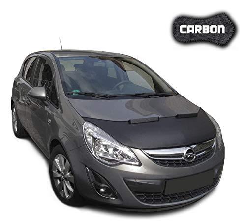 Black Bull Haubenbra für Opel Corsa D CARBON Steinschlagschutz Motorhaubenschutz Automaske