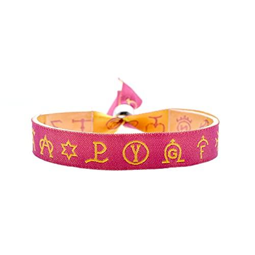 BDM Pulsera de Mujer y Hombre de Tela, taurina Rosa con símbolos representativos en Amarillo. Cierre de Bola Ajustable. Regalo Original y significativo.