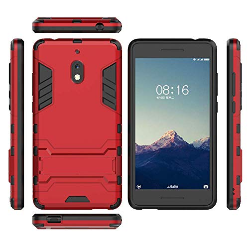 QiongniAN Coque pour Nokia 2.1,2 en 1 Double Couches avec Support Coque pour Nokia 2.1 TA-1080 TA-1084 TA-1086 TA-1092 TA-1093 Coque Etui Cover Red