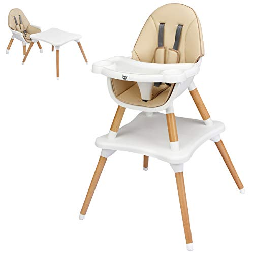 BABY JOY 4 in 1 High Chair, Baby Eat & Grow Convertible High Chair/Booster Seat/Toddler Chair & Table, Infant Wooden Dining Chairs w/5-Point Seat Belt, Removable 4-Position Tray & PU Cushion (Khaki)
