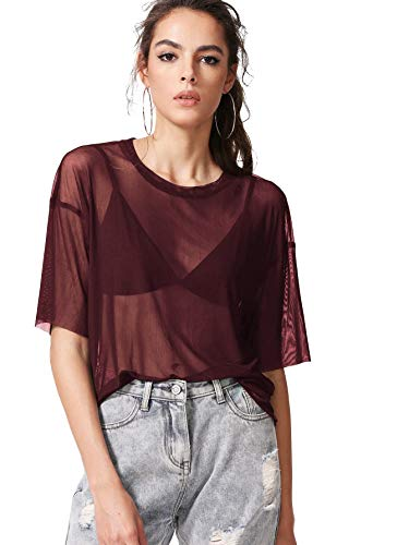 MakeMeChic Women's Summer Half Sleeve Tops See Through Mesh Sheer Sexy T Shirt Blouse A Burgundy L