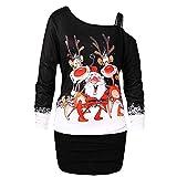 Weihnachten Kleid Damen Partykleider Elegant Abendkleid Weihnachtskleid Frauen Mode Bodycon Sexy Schulterfrei Schlinge Knielang Langarm Rockabilly Mini Kleider Riou (XL, Schwarz)