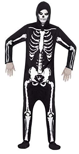 Smiffys-25237M Miffy Disfraz de Esqueleto, con Traje Entero con Capucha, Color Negro, M-Tamaño 38