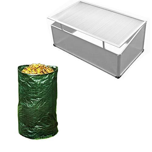 Mojawo XXL Frühbeet mit Alumimium Rahmen 120X80X30/40CM aus Polycarbonat Gewächshaus Frühbeetkasten Treibhaus + Gratis Laubsack