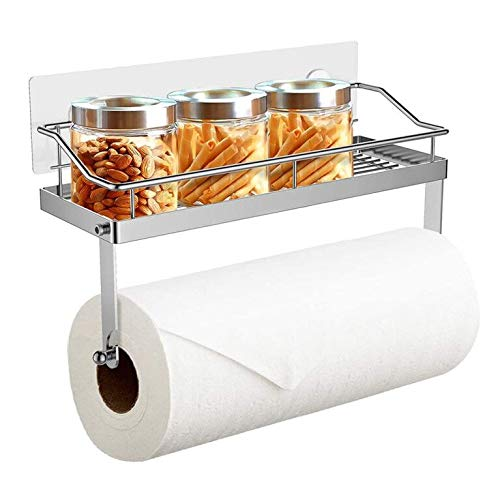 No Drilling Adhesive Paper Towel Holder with Shelf Kitchen Roll Dispenser Spice Rack Wall Mounted Bathroom Organiser Storage SUS304 Stainless Steel