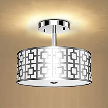 DLLT Semi Flush Mount Ceiling Light 3-Light Modern Entry Light Fixture Ceiling Hanging with Drum Shade for Bedroom Dining Room Kitchen Hallway Entry Living Room Rushed Chrome Finish