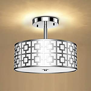 DLLT Semi Flush Mount Ceiling Light, 3-Light Modern Entry Light Fixture Ceiling Hanging with Drum Shade for Bedroom, Dining Room, Kitchen, Hallway, Entry, Living Room, Brushed Chrome Finish