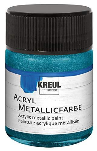 Kreul 77582 - Acryl Metallicfarbe, glamouröse Acrylfarbe mit Metalliceffekt auf Wasserbasis, cremig deckend, schnelltrocknend und wasserfest, 50 ml Glas, metallic mintgrün