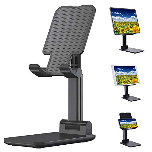 Natbabe Foldable tablet stand, angle height adjustable mobile phone holder, universal holder for (4-15 inch) mobile phone, iPad, Samsung Galaxy Tab etc. (Black)
