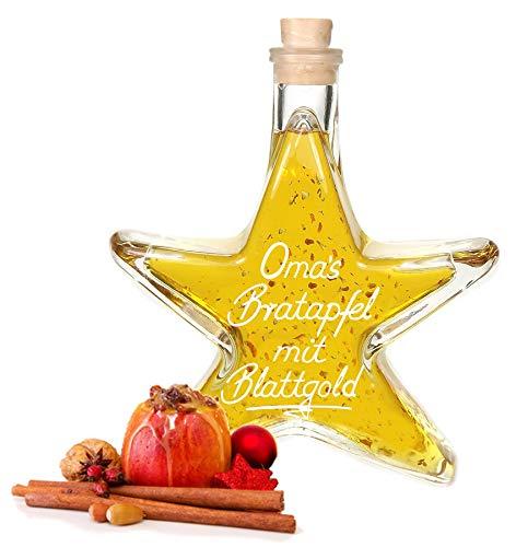 Oma's Bratapfel Likör mit 24 Karat Blattgold 0,2 L Sternflasche fruchtig süffig 20% Vol