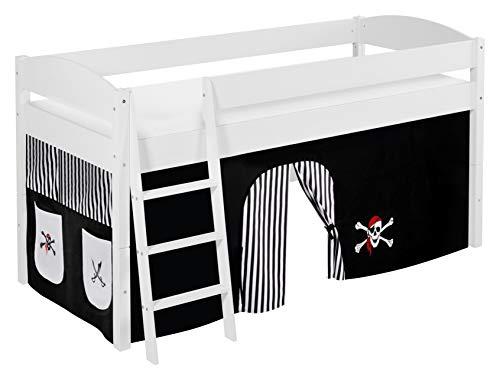 Lilokids Lit Mezzanine IDA 4105 Pirat-Noir-Rayures - Système de lit évolutif Convertible Blanc - avec Rideau
