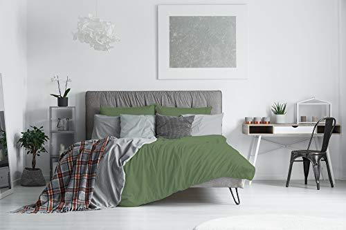 Elegant CP-El SCURO-2PST Parure Copripiumino, Microfibra, Verde Scuro, Matrimoniale, 200x250x1 cm, 3 unità