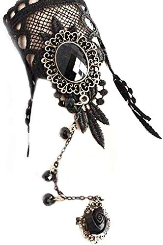 JIUJIN Halloween Bracelet Premium Black Lace Gothic Lolita Pendant Bracelet Costume Party Mens Womens Bangle