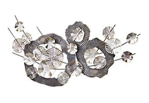 Kobolo Wandbild Metallbild 3D-Bild - ABSTRAKT - Metall - schwarz, Silber - ca 130x70 cm