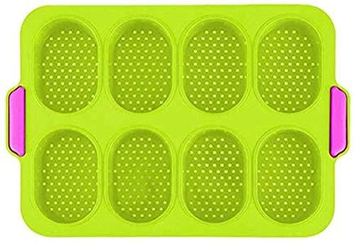 NC88 Mini Molde de Pan francés para Hornear Molde de Pan de Silicona francés con 8 Compartimentos Herramientas sartén Antiadherente de Silicona sartén Adhesiva de Cocina 24 34cm-Verde