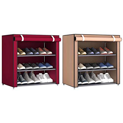 Cokeymove Gabinete De Zapatero De 4 Niveles para 6-9 Pares De Zapatos Organizador De Almacenamiento De Pie De Tela No Tejida 60 X 55 X 30 Cm Rojo/Café