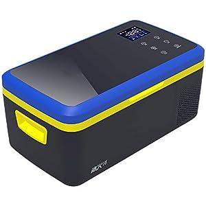 PXQ Car Réfrigérateur 2 Modes Double Tension Refroidisseur et Réchauffeur 12V / 24V CC Portable Congélateur pour Voyager Camping-15L Haute capacité Machine à glaçons Glacière,BlackBlue