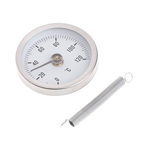 LEXIANG Tubería Clip-On Dial Termómetro Temperatura Bimetálico Indicador de Temperatura y Resorte 63 mm 120 ℃
