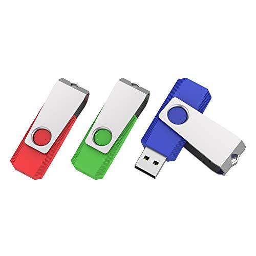 Vansuny Juego de 3 unidades de memoria USB 2.0 de 32 GB, con llavero en la tapa de metal, para trabajadores, estudiantes, profesores, fotógrafos, color azul, verde y rojo
