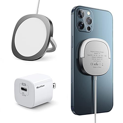 Cargador Inalámbrico Magnético,Marchpower Cargador Rápido iPhone Cable 1M con Panel Magnético+PD 20W Cargador USB C Carga Rapida Compatible con iPhone 12/12 mini/12 Pro/12 Pro MAX/AirPods Pro