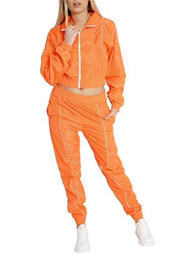 Worldclassca Damen Windbreaker Jogginganzug Jogging Suit NEON Farben Trainingsanzug Jogging Fitness Sport Yoga Club Sportanzug LEICHT Jacke MIT Hose Set 2TLG Langarm Blogger S-L (L, Neon-Orange)