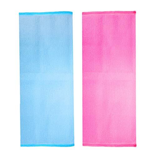 Generic 2pcs Sangle Gratte-dos pour Douche et Bain Serviettes de Nettoyage Exfoliant Corps de Bain Massage Rouge + Bleu