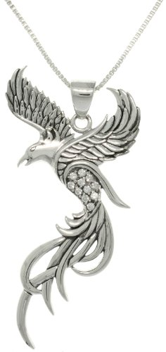 Jewelry Trends CZ Eagle Phoenix Sterling Silver Pendant Necklace 18'