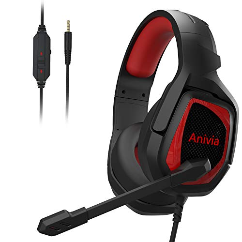 Gaming Headset Xbox Anivia PS4 Headset Over Ear Headphones with Noise Canceling Mic & Stereo Bass Surround Headset, for PS3 PS4 PS5 Xbox one Nintendo Switch PC Laptop Tablet Mac - Black Red