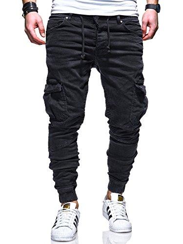 MT Styles Herren Biker Jogg-Jeans Hose RJ-3207 [Schwarz, W32/L32]