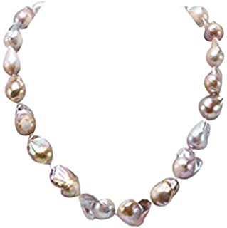 JYX Pearl Classic Natural 12-20mm Champagne Baroque Freshwater Cultured Pearl Necklace for Women