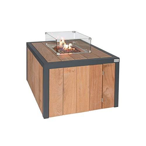 Easyfires Vuurtafel, vierkant, op gas | haard, gasvuurplaats, terraskachel, vierkant, 95 x 95 x 55 cm