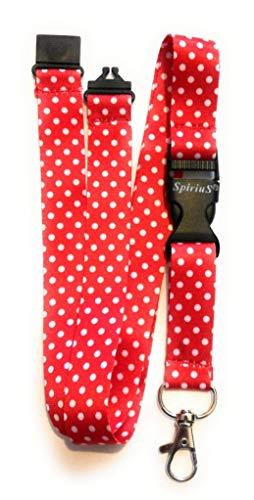 Spirius, cordino da collo multicolore e alla moda per tesserino di riconoscimento o chiavi, con portachiavi a clip in metallo polka dot red