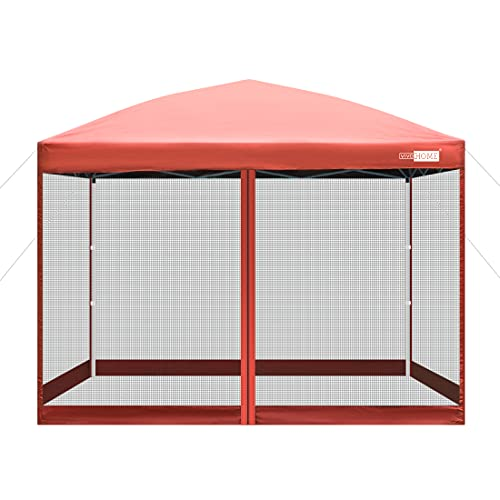VIVOHOME 210D Oxford Outdoor Easy Pop Up Canopy Screen Party Tent with Mesh Side Walls Red 10 x 10 Feet