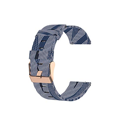 22mm Canvas Quick Release Watch Band Strap Compatible with Fossil Gen 5 Julianna, Q Wander/Founder/Marshal/Gen 4 Explorist HR Replacement Bands (Dblue)