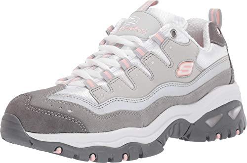 Skechers Energy-Ocean Tide, Scarpe da Ginnastica Donna, Grigio (Gray & Charcoal Leather/White Mesh/Pink Tirm Gyw), 39 EU