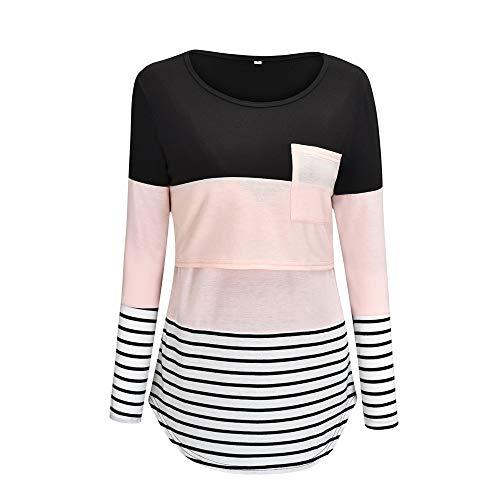 T-Shirt Mujer Moda Clásica Primavera Verano Cuello Redondo Manga Larga Mujer Tops Único Raya Empalme Diseño Ocio Diario Cómodo All-Match Mujer Blusa B-Pink L