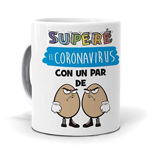 Taza Superé el coronavirus con un par de Huevos