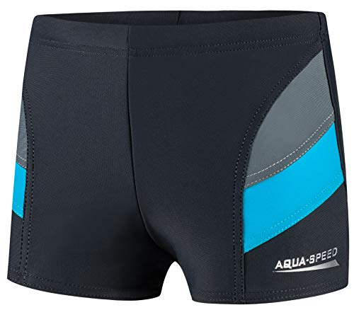 Aqua Speed Badehosen für Jungs eng | Kurze Schwimmhosen Jungen | Kinderbadehose | Schwimmen Trunks | Sports Swimwear | Badebekleidung mit UV-Schutz | 32. Grau - Blau Gr. 134 | Andy