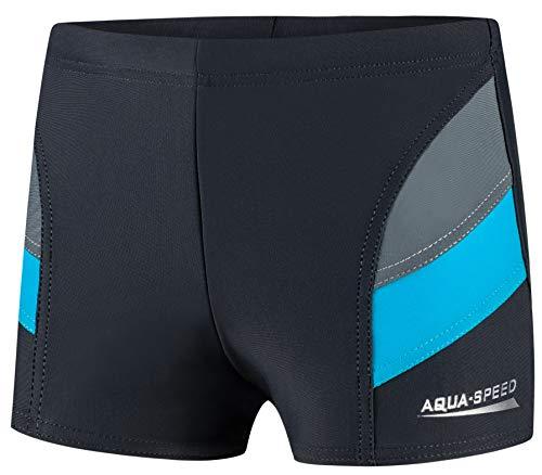 Aqua Speed Boxer Badehose Jungen eng kurz | Triathlon Schwimmhose Jungs | Kids Swimwear | Jungen Sport Schwimmbekleidung modern | Jungenbadehose | UV-Schutz | 32. Grau - Blau Gr. 128 | Andy