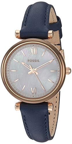 Fossil Women's Carlie Mini Quartz Stainless Steel and Leather Three-Hand Watch, Color: Rose Gold, Navy (Model: ES4502)