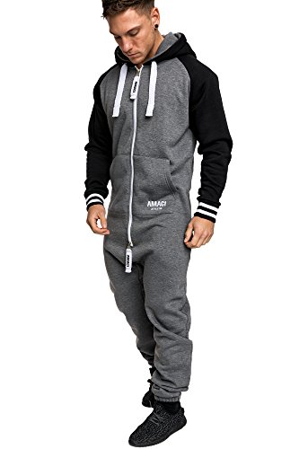 Amaci&Sons Herren Overall Jumpsuit Onesie Jogging Sportanzug Trainingsanzug Jogginganzug 3022 Anthrazit XL