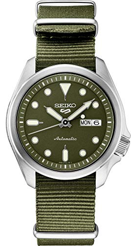 Seiko Men's 5 Sports Stainless Steel Automatic Watch with Nylon Strap, Green, 22 (Model: SRPE65)