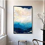 Cartel y pintura 60x90cm sin marco Abstracto Azul Dorado Color de ensueño Cartel artístico Impresión moderna para sala de estar Dormitorio Moda Arte de la pared Decoración